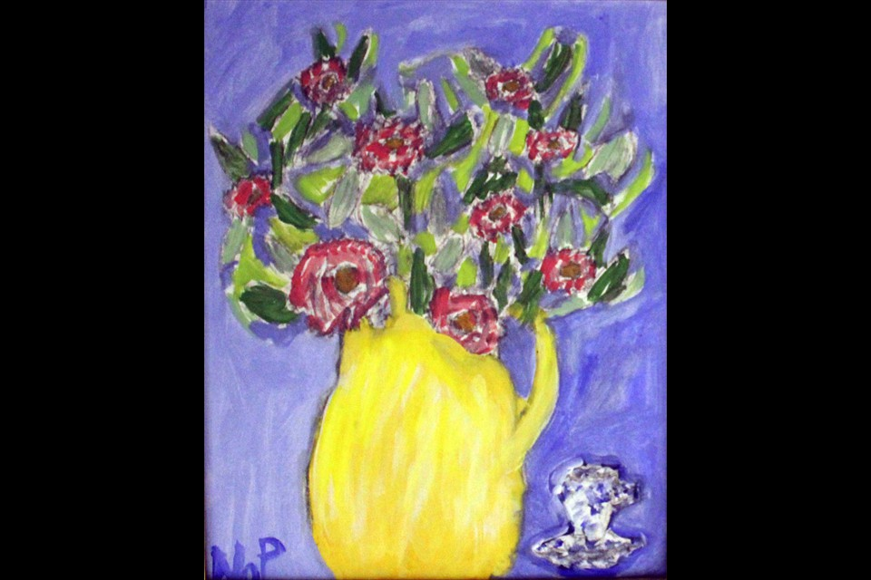 Flowers and Teacup by Nina Paulos (Grade 3)